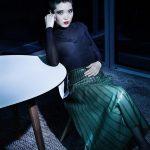 fashion editorial model on location flash photography shooting dress