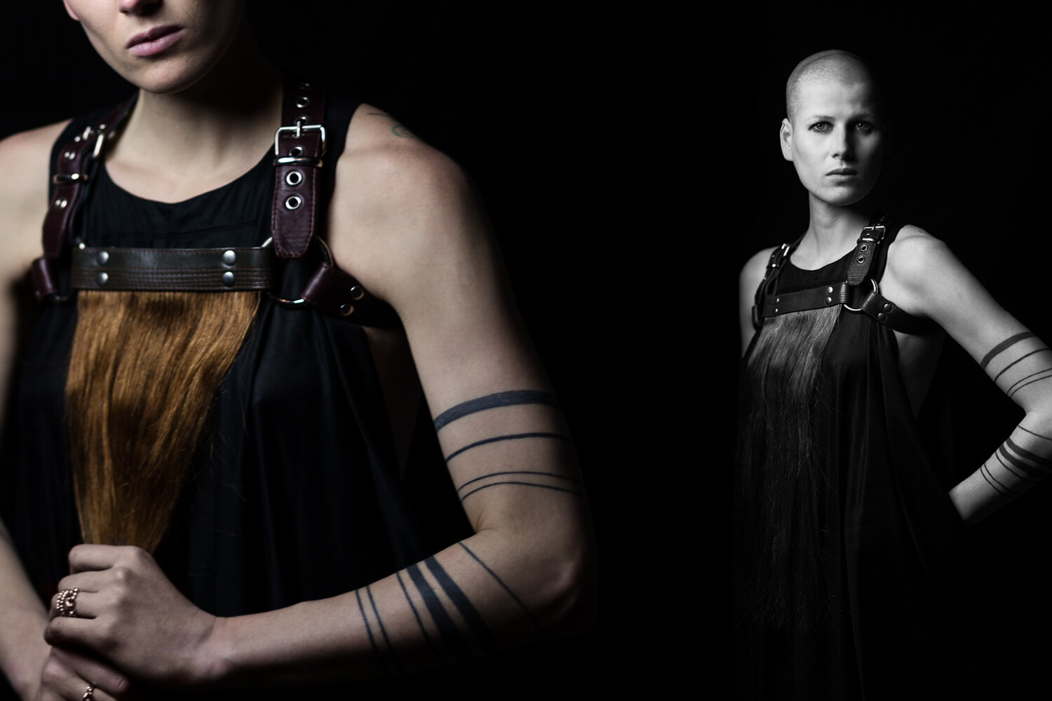 Fashion Photography Editorial with model Juliane Kayser in co-operation with leather designer Robert Laue shot in photo studio ATP24 by Berlin based photographer Caroline Wimmer