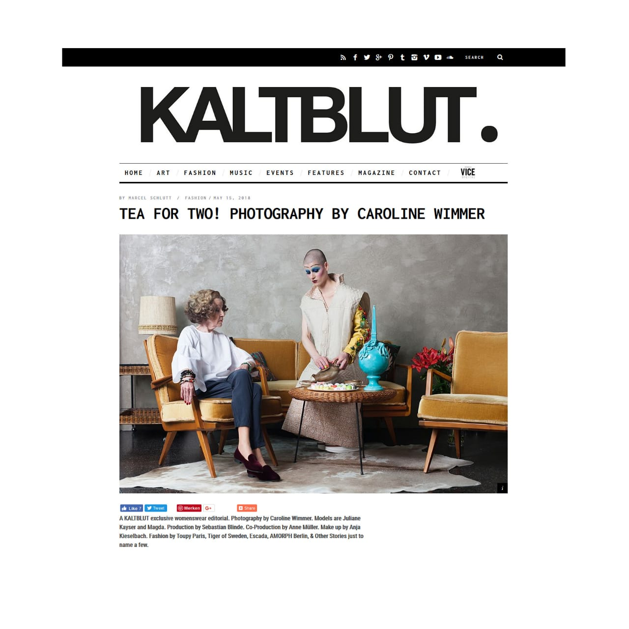 """Fashion Editorial """"Tea for Two"""" has been published in Kaltblut Magazine"""