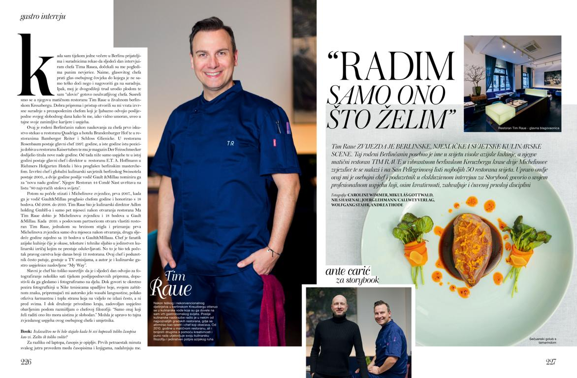 Portrait photography of michelin star chef Tim Raue at his restaurant in Berlin Kreuzberg for croation magazine storybook by photographer Caroline Wimmer