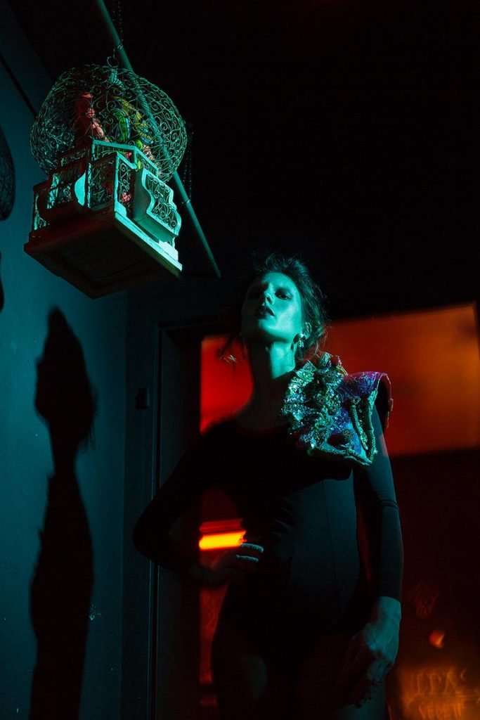 Fashion editorial with female model shot in a Berlin bar by Berlin photographer Caroline Wimmer