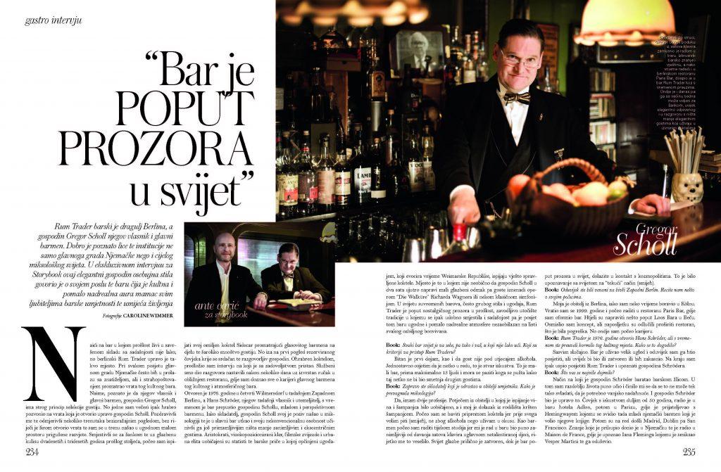 Interview mit Barkeeper Gregor Scholl in Berliner Bar Rum Trader im kroatischen Fashion und Lifestyle Magazin Storybook