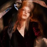 Experimental Photo Shooting with Character Design Headpiece Moth by Illustrator Sebastian Blinde and Model Mina Medusa by Berlin Photographer Caroline Wimmer
