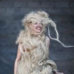 """Photo documentation of a spontaneious performance by Resi Bender in a costume made from hemp during the Artist Residency """"The Martian Chronicles II"""" in Leonidio, Greece, by Berlin Portrait and Event photographer Caroline Wimmer."""