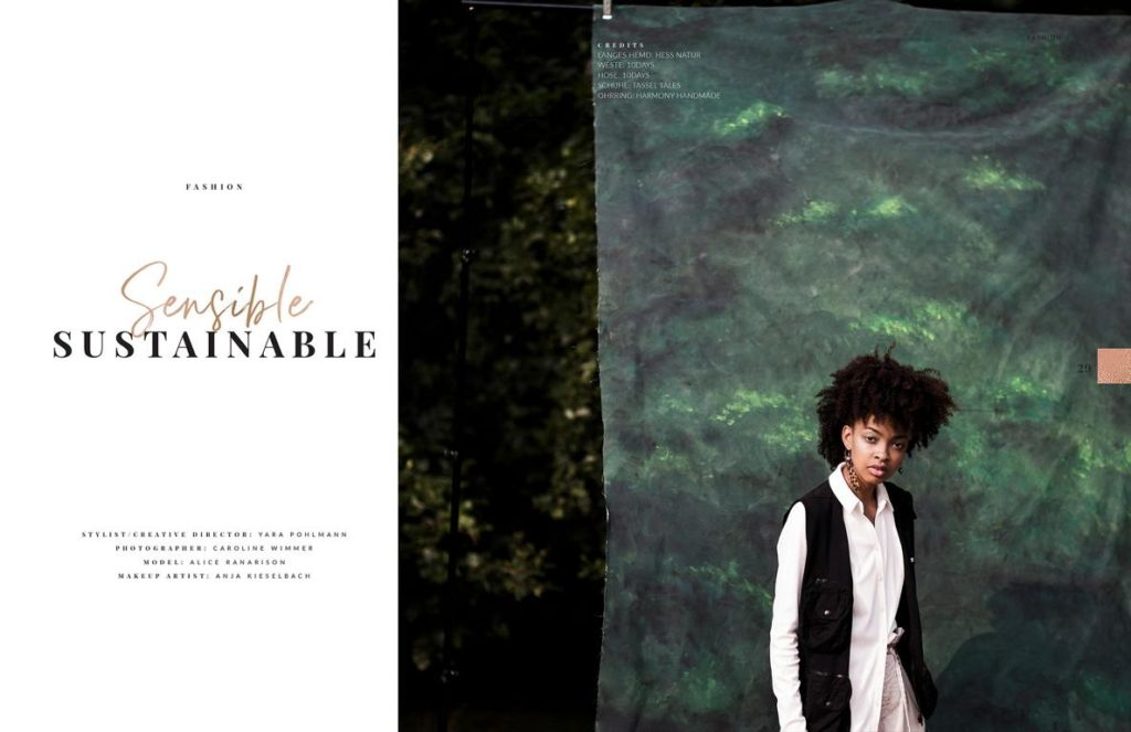 Fashion Editorial Sensible Sustainable with sustainable fashion published in Elegant magazine december 2020. photography by Caroline Wimmer from Berlin, styling and concept Yara Pohlmann.