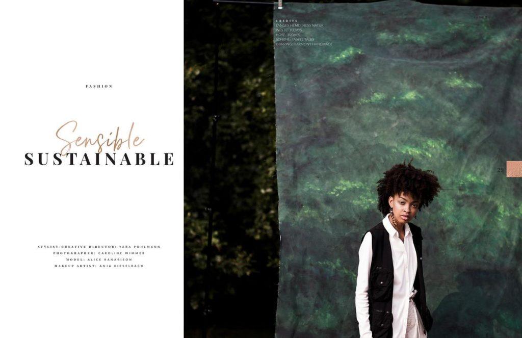 Magazinveröffentlichung im Elegant Magazin. Modefotografie, Fashion Editorial, Fotos von nachhaltiger Mode, on location in der Natur fotografiert von Fotografin Caroline Wimmer aus Berlin